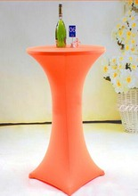 Free Shipping 10pcs Orange Cocktail Lycra Spandex Table Covers Wedding Bar Stretch Table Cloths