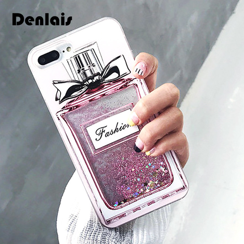 Luxury Perfume Bottle Cases Quicksand Dynamic Liquid Glitter Coque Phone Cases iPhone 6 6s Plus 6sPlus 7 7Plus Fashion Cover