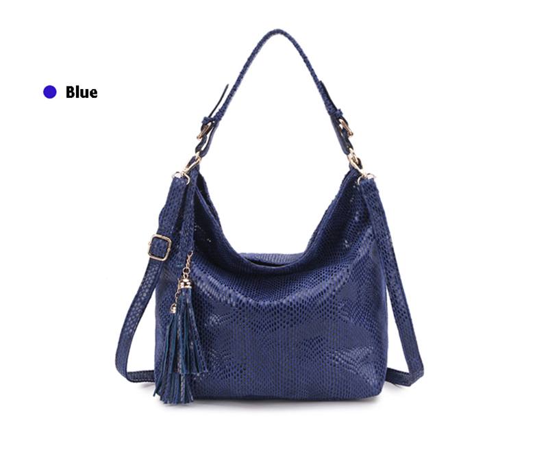 Women Snake Leather Shoulder Bag Female Serpentine Pattern Hobos Bags Tassel Big Handbag Luxury Designer Ladies Tote SS0309 (9)