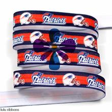 "(10yards/lot) 5/8""16 mm Patriotic Football Printed Elastic Ribbon Sports Clothing Tape DIY Hair Accessories MD150917-25-2157"