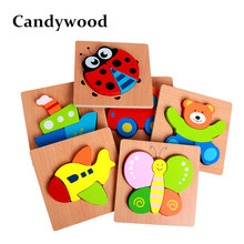 Candywood 3D Wooden Puzzle Jigsaw High quality Beech Wood toys for Children Cartoon Animal Puzzle Kids Educational Toys