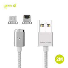 Original WSKEN 2M Magnetic Micro USB Type C Data Charging Cable iphone X 5 5S SE 6 6S 7 8 Plus ipad Xiaomi Samsung HTC Cable