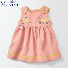 Little maven children brand 2017 autumn baby girls Corduroy pure color cartoon sheep bird pink/blue girls vest dress dresses(China)