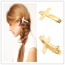 Fashion Simple Girls Hair Clips Barrettes Cross Shape Metal Hairpins French Barrette Clip Cuff Hair Accessories Headwear(China)