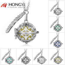 Fine Jewelry Pregnancy Balls Bola 2 Colors Cage Angel Pendants Baby Chime Hollow Out Metal Chain Necklaces for Women(China)