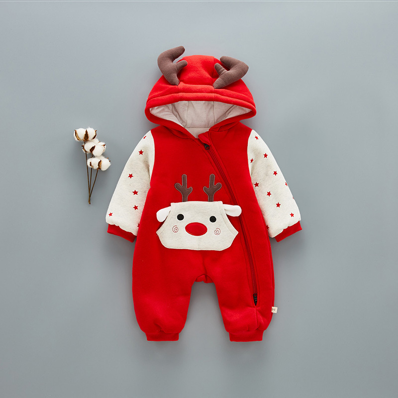 Winter Baby Clothes Fashion Lovely Antlers Embroidery Baby Boy Girl Jumpsuits Newborn Christmas Clothes Infant Jumpsuit<br>
