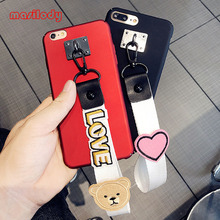 100pcs/Lot 2CM Cute LOVE Phone Strap Mobile Phone Rope DIY Cell Phone Strap Heart Bear Holder Cartoon Mobile Straps Lanyards(China)