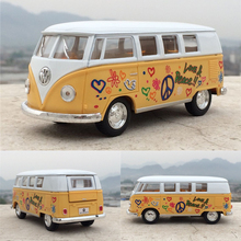 Free Shipping High Simulation 1/32 Classic Bus Soft World Minibus Car Toy Mini Van Alloy Diecast Model Bus Toy For Kids Gift(China)