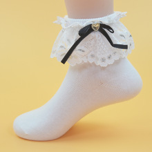 JUERSEI Children's Stockis for Girls Cotton Breathable Lace Princess Bow-knot 1 Color White Girl's Gift Socks 1 - 12 T