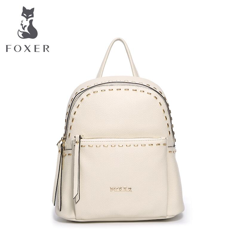 FOXER brand 2016 New genuine leather bags women famous brands designer fashion simple rivet women backpack<br><br>Aliexpress