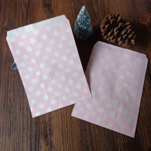 100pcs Very Light Pink Dots Paper Bags Strung Food Quality Craft Favor Candy Snack Bag Gift Treat Paper Bag Party Favor5 x 7inch