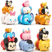 3pcs/lot tsum tsum mini figure lot 2017 New PVC tsum tsum stitch hello kitty stacked figura doll toys for girls boys gift