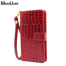 MAKEULIKE Wallet Case For Huawei P8 Lite 2017 Flip Cover Pouch Croc Pu Leather Phone Bag Case For Huawei P8Lite 2017(China)