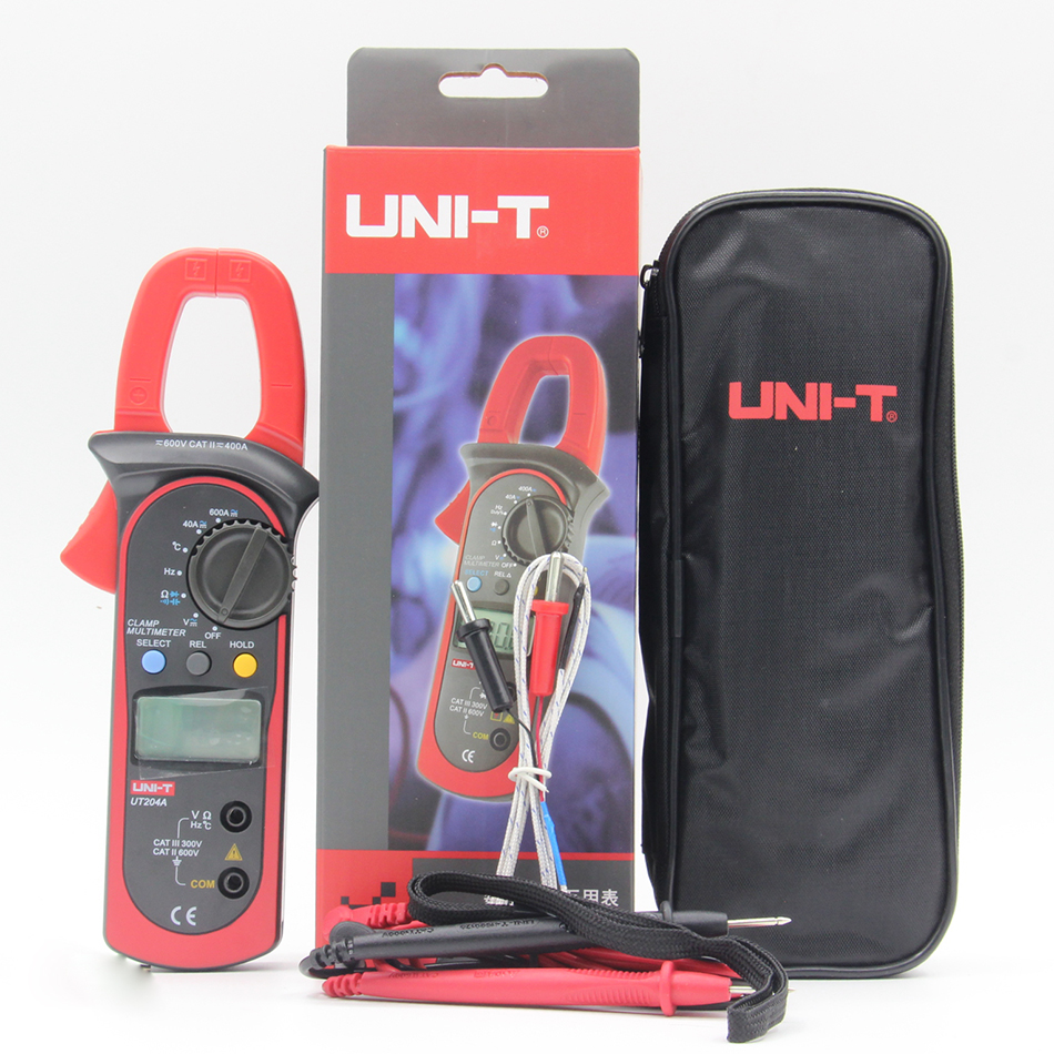 UNI-T UT203 UT204 UT-204A digital clamp multimeters auto range temperature AC DC current clamp meter <br>