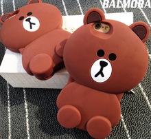 BALMORA Cute Bear 3D Rubber Phone Cases for iphone 4 5 6 6S 6plus 6s Plus Soft Silicone Cartoon Cover for iPhone 4s S Se 7 plus(China)