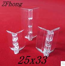 100PCS 25x33mm Acrylic Hinge , perspex Transparent Hinge , Plexiglass Hinge , organic glass hinge 25x33mm ,furniture accessory(China)