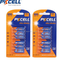 2card/16pcs PKCELL 1.5V Alkaline Battery AAA LR03 E92 AM4 MN2400 primary batteries for remote control & toothbrushes(China)