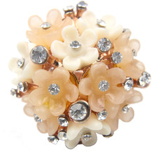 Champagne and Ivory Delicate Rhinestone Resin Flower Jewelry Big 30mm Statement Ring for Women
