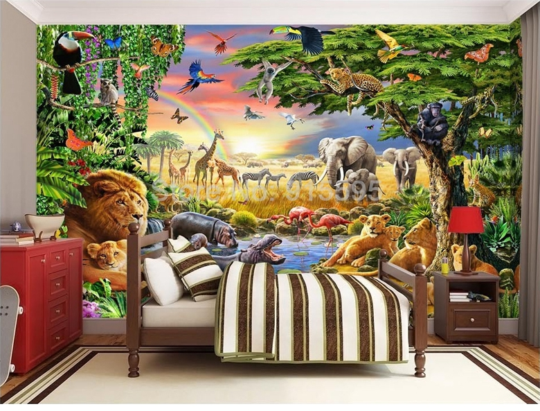 HTB1iCmeSpXXXXc.apXXq6xXFXXXi - Custom Photo Mural Non-woven Wallpaper 3D Cartoon Grassland Animal Lion Zebra Children Room Bedroom Home Decor Wall Painting