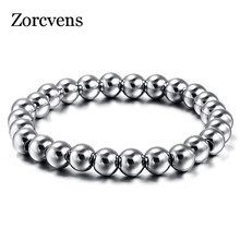 ZORCVENS 316L Stainless Steel Mens Bracelet Classical Biker Bicycle Heavy Metal 8MM Ball Link Chain Jewelry Bracelets For Men(China)