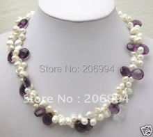 Wholesales beautiful white freshwater pearl Purple Crystal Necklace Free gift free shipping