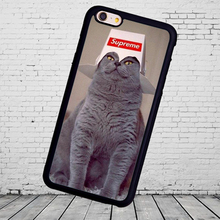 Cat Supreme Hat Funny Printed Soft Mobile case for iphone 5s 4s 5c 6 6 7plus  for Samsung S3 S4 S5 S6 S7 S8 edge black cover