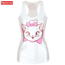 Buy Hipsterme Summer Sexy tank top workout Cartoon cat 3D print white sleeveless tops Girl singlet Women camisolas for $5.69 in AliExpress store