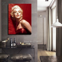 Marilyn Monroe Canvas Art Wall Pictures Room Decoration Painting Beautiful Woman With Red Background Artwork Print No Frame