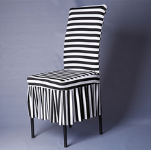 1 Piece White And Black Chair Covers Zebra Striped Pattern Chair Covers Lycra Spandex Fancy Chair Skirt Ruffle For Sale V20C(China)