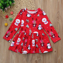 Toddler Kid Baby Girls Christmas Snowman Clothes Long Sleeve Pageant Party Princess Dress Cartoon Deer Print winter outfit wear(China)