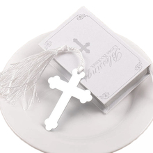 10 PCS Silver Cross Bookmark Wedding Favors Bridal boda Baby Shower First Communion Gifts Souvenirs Recuerdos Para Bautizo(China)