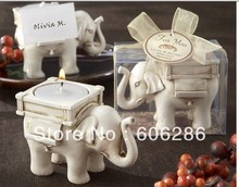 50pcs/lot Wedding Gift and Decorations elephant Resin Candlestick Lucky Elephant Tea Light Candle Holder