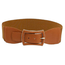 IMC Metal Single Pin Buckle Stretchy Cinch Band Waist Belt Brown For Lady
