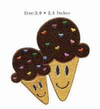 "The twins ice cream 3.0""wide embroidery patch for champions league patch/bolsas/stickers for clothes(China)"