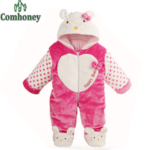 Baby Rompers Winter Hello Kitty Newborn Girls Clothes Cotton Padded Baby Snowsuit Infant Girls Parka 3D Cartoon Infant Jumpsuit