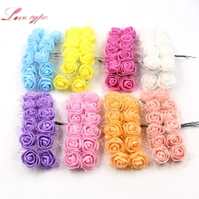 12pcs Artificial Flower Bouquet Foam Lace Rose Handmake For Wedding Decoration DIY Scrapbooking Decorative Wreath Fake Flowers(China)