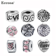 Fits Pandora Charms Bracelet Safety Beads Clip Stopper Crystal Heart European Silver Plated Charm DIY Jewelry Making Accessories