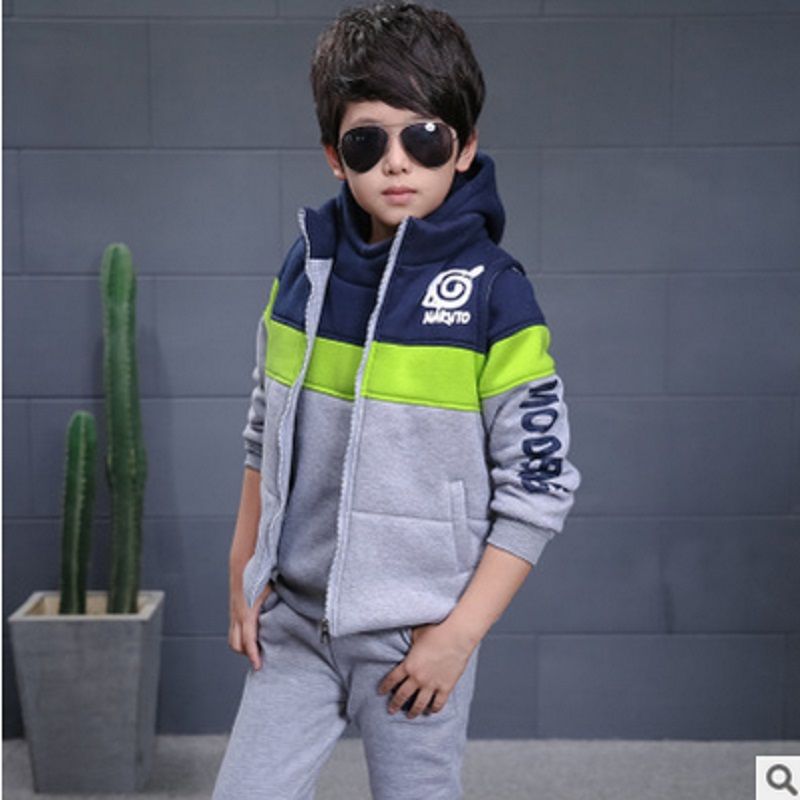 Childrens Clothig Sets New 2017 Kids Clothes Sets Winter Patchwork Cartoon Three Piece Boy Clothing Set 2 Colors Size6-14 ly107<br>