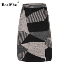 Buy RealShe High Waist Wool Pencil Skirt Women Autumn Winter 2017 New Arrival Casual Plaid Mini Skirt Korean Fashion Slim Skirts for $26.47 in AliExpress store