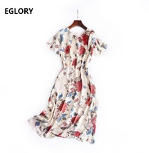 High Quality New Summer Dress 2017 Ladies O-Neck Red Floral Print Short Sleeve Mid-Calf Length Chiffon Sweetheart Day Dress Cute
