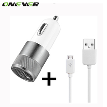 Universal Dual USB Car Charger Adapter + USB Charging Data Cable  For Samsung LG Sony Huawei Xiaomi USB Data Cable Car Charger