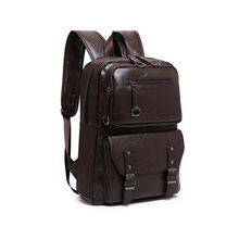 2017 Korean Style Men Backpack Top Quality Leather Double Shoulder Bags School Bag Book Rucksack for Male Travel Tote Bagpack
