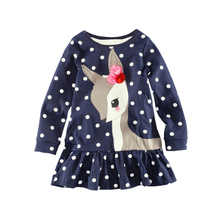 2 3 4 5 6 7 Year Girls Dress Spring Autumn Long Sleeve Kids Dresses for Girls Cotton Cartoon Deer Toddler Children Clothing(China)