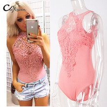 CUYIZAN 2017 deep v lace bodysuit women sexy catsuit sleeveless fitness jumpsuit backless slip leotard body one piece sleepwear(China)