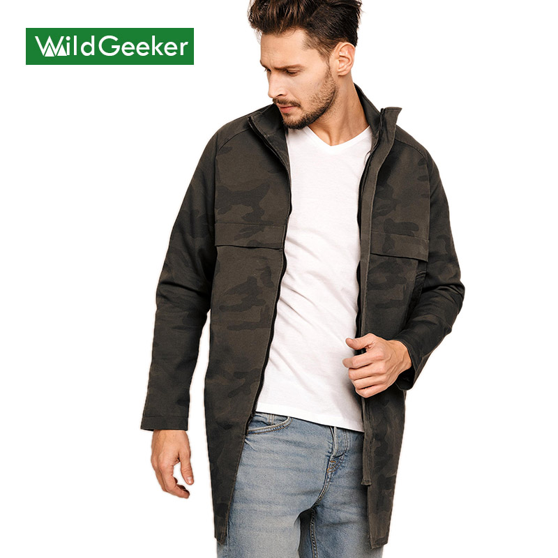 Wildgeeker Mens Jackets Brand Clothing Trench Coat Stand Collar Casual Outwear 2017 Army Green Spring Military Style Men JacketОдежда и ак�е��уары<br><br><br>Aliexpress