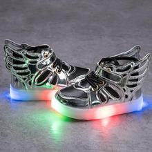 New Boys Girls Shoes Led Light Up PU Leather Children Shoes Luminous Glowing Sneakers Sports Casual Running Kids Shoe Size 21-30