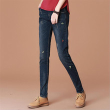 2017 Spring New Embroidery Scratched Women Jeans Slim Elastic Pencil Pants Trousers Ladies Fashion Full Length Casual Jeans