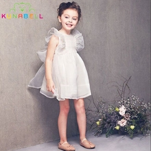 Brand Summer White Sweet Organza Ruffles Angel Dress Infant Tutu Baby Princess Party Little Girls Pageant Dresses Clothes D32