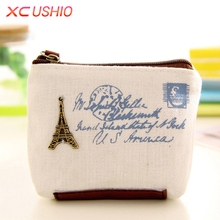 Classic Retro Women Canvas Coin Purse with Metal Decorations Mini Coin Cards Storage Bag Zipper Money Bag Key Pouch Small Wallet