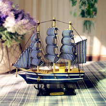New!Mediterranean Style 20cm Wooden Sailing Ship Handmade Carved Model Boat Home Nautical Decoration Crafts Gift(China)